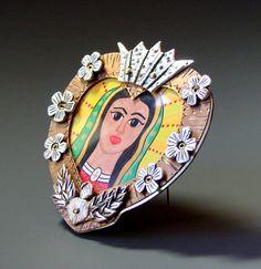 Virgen of Guadalupe Nicho (brooch). ©2011 Lorena Angulo  Pure silver, copper