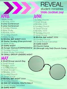 Youth Group Calendar | Reveal Student Ministries | Late Spring and Early Summer 2014