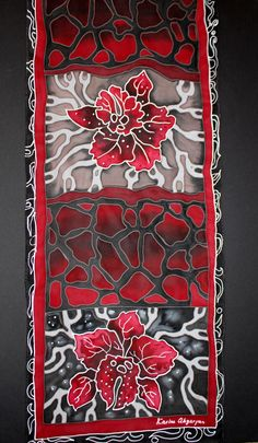 Hand painted scarfSilk chiffonRed blackFloral Chiffon