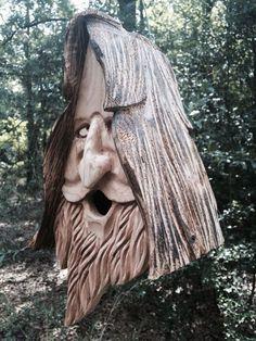 Wood Spirit Unique Old Man rustic Hand Carved Cedar Bird House Birdhouse Happy