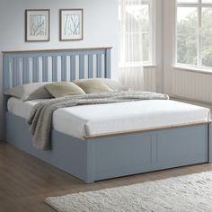 Phoenix Stone Grey Wooden Ottoman Storage Bed Ottoman storage bed