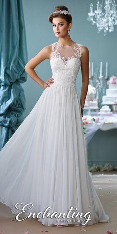 Wedding Dresses For Budget Brides: Lace Applique A-line Wedding Gown by Mon Cheri Enc...