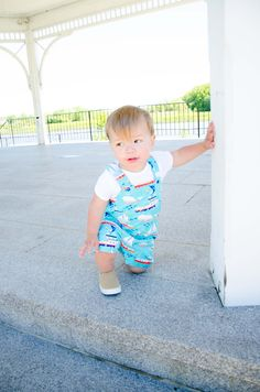Love these fishing boats overalls on him.  Such a sweet fabric.