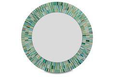 Mosaic Wall Mirror, Aqua Green