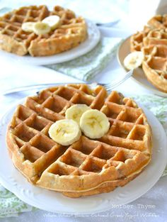 Whole Wheat Banana Oatmeal Greek Yogurt Waffles - Mother Thyme - I made these this morning, and they were amazing!!!