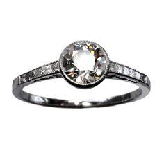 Vintage Bezel Set Milgrain Diamond Ring (1920s)
