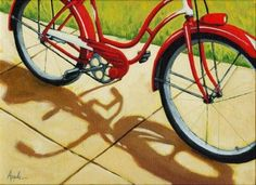 Old+Red+Classic+-+bicycle,+painting+by+artist+Linda+Apple