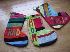 Recycled Sweater Personalized Christmas Stocking