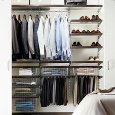 The Container Store > Walnut & Platinum elfa décor Modern Reach-In Closet