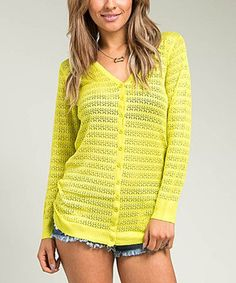 Look at this #zulilyfind! Buy in America Lime Pointelle Cardigan by Buy in America #zulilyfinds