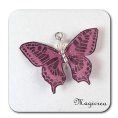 PENDENTIF PAPILLON 5 CM ROSE ANCIEN ARGENTE-MAEVA - Boutique www.magicreation.fr