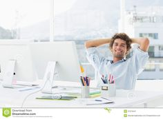Relaxed Casual Business Man With Computer In Bright Office Stock ...
