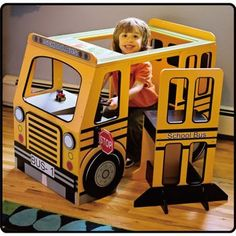 Big boy room on pinterest school buses land of nod and - School bus table and chair ...