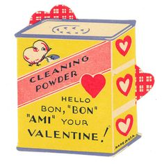 Vintage valentine card from my Mother's collection. This looks like some sort of reference to Bon Ami cleanser. My Funny Valentine, Valentine Images, Vintage Valentine Cards, Saint Valentine, Valentine Day Love, Vintage Greeting Cards, Vintage Holiday, Valentine Day Cards, Vintage Postcards