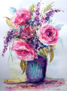 Aquarelle Originale signée Dam Domido Fleurs Peonis Artprice & Akoun…
