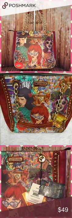 "👜Nicole Lee Shelby Retro Hollywood Tote 👜 NWT Not part of my bundle discount bc of the already low price!  But please see my other listings for bundling and other great deals😀  💃🏻 retro-print tote bag by Nicole Lee. Made from faux leather with faux croc details.  👜Double handle  👜Zip top closure 👜Back zip wall pocket  👜Interior trim wall pockets and double open wall pockets for additional storage 👜Goldtone spike studs along the edges 📏Dimensions:    💟Width 15.5""    💟Height 13.5""…"