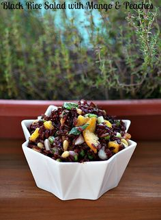 Black Rice Salad with Mango and Peaches