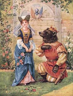 Illustration by A.L. Bowley for 'Beauty and the Beast,' c. 1920.