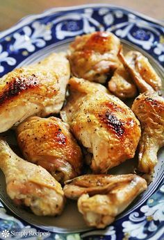Classic Baked Chicken ~ Easy baked chicken recipe. Chicken breasts, thighs, wings, and legs coated in olive oil and seasoned with salt and pepper baked in the oven. ~ SimplyRecipes.com
