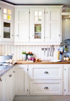 Country interior #cottage home with a #traditional style and butcher block wood #countertop