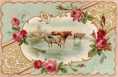 Free ~ Cows and Roses   by Cathe Holden JustSomethingIMade.com