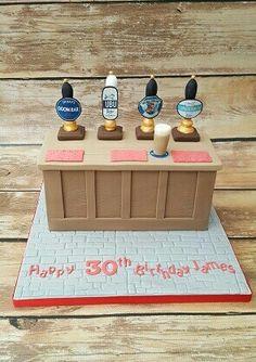 Pub cake  Bar cake  Beer pumps cake  www.cakesbykaren.co.uk Retirement Party Cakes, Birthday Cakes For Men, Themed Birthday Cakes, Themed Cakes, Mum Birthday, 1st Anniversary Cake, Sheep Cake, Girly Cakes, Beer Bread