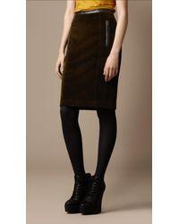 5b4536d841 Lyst - Burberry Brit Leather Trim Corduroy Pencil Skirt in Green