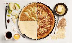 Körtés mandulatorta leveles tésztából - Tante Fanny Tantra, Cheddar, Apple Pie, Quiche, Camembert Cheese, Food, Pear Recipes, Sliced Almonds, Oven