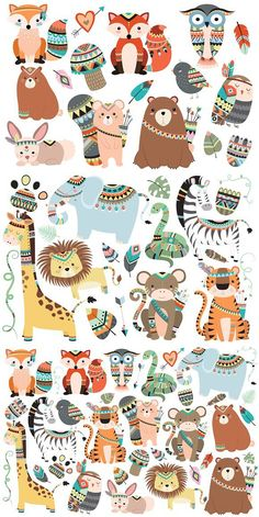 You will receive my Woodland Tribal Animal set and my Jungle Tribal Animal set for less than Baby Animal Nursery, Nursery Art, Wallpaper Kawaii, Tribal Animals, Relaxing Art, Christmas Drawing, Baby Album, Cricut Creations, Animal Illustrations