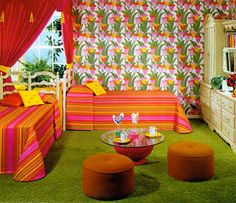 tacky interior design at DuckDuckGo - Retro Home Decor Retro Room, Vintage Room, Bedroom Vintage, 70s Bedroom, Retro Bedrooms, Girls Bedroom, Bedroom Decor, Deco Retro, 70s Home Decor