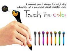 interesting colored pencils with embedded tactual symbols for blind children. *Visit pinterest.com/wonderbabyorg for more accessible toy ideas!