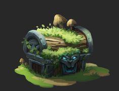 ArtStation - Forest Chest, Daria Silbern  chest icon game art druid forest game asset