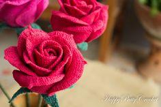 Rosa schema uncinetto Crochet Flower Pattern di HappyPattyCrochet