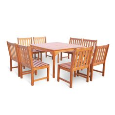 Vifah Malibu Eco-friendly 7 Piece Outdoor Hardwood Dining Set with Rectangle Table and Armless Chairs, Urban Safari Tan Outdoor Dining Set, Patio Dining, Patio Table, Outdoor Decor, Dining Sets, Dining Table, Outdoor Wood Furniture, Wood Patio, Patio Furniture Sets