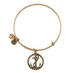 Need this!!! Nautical Expandable Wire Bangle - Russian Gold - Single Charm Bangles - Bracelets #alexandani