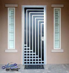 Escher - Powder Coat Silver with Black Perf (screen) wrought iron security screen door - Model: SD0214