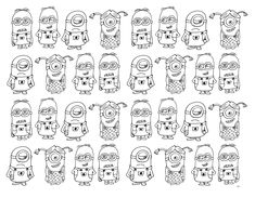 Free coloring page coloring-very-numerous-minions. Very numerous Minions to color
