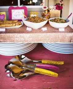 Love the glitter handles on serving utensils! {Pink, Glitter & Gold} Royal Baby Shower: Part 2 – Food, Drinks & Cake