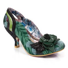 ad1a763ee62 Slide your tootsies into these sweeping flower and foliage stand out mid  heels. A flattering