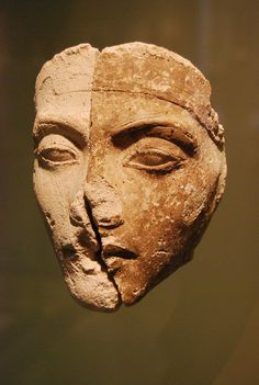 One of the faces from the portrait studies of kings. 18th Dynasty, Amarna  Neueus Museum