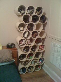 PVC pipe shoe storage - so fun and so simple, could easily spray paint or cover in fabric or paper too... maybe a horizontal layout of two rows or something. So many possibilities!