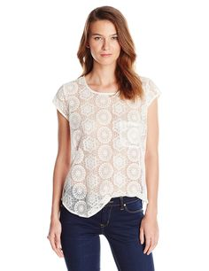 White lace is always in style.  Try this with a pale pink jean for summer for a gorgeous feminine look. Joie Women's Dalliance Geo Mesh Blouse | Pretty Little Liars