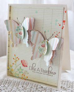 handmade card, butterflies, ledger paper, stamped