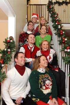 ugly christmas sweater family picture not looking at camera