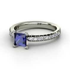 Princess Blue Sapphire 14K White Gold Ring with Diamond & Diamond  - lay_down