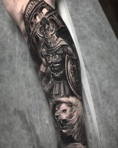 Mostly healed gladiator piece with fresh whites and background/colosseum Warrior Tattoo Sleeve, Lion Tattoo Sleeves, Warrior Tattoos, Best Sleeve Tattoos, Viking Tattoos, Tattoo Sleeve Designs, Angel Warrior Tattoo, Gott Tattoos, Bild Tattoos