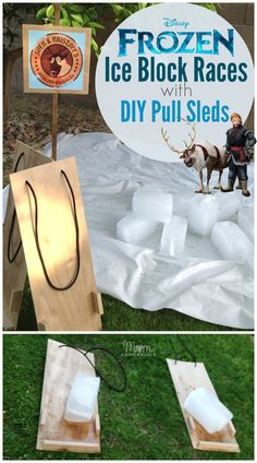 Frozen Fun Activity - Sven  Kristoff's Ice Block Races (with DIY Pull Sled Tutorial)