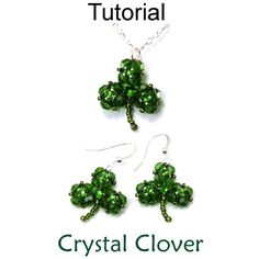Crystal Clover St Patricks Day Shamrock PDF Beading Pattern Tutorial | Simple Bead Patterns