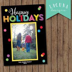 Photo Christmas Card, Christmas Card, Colorful Christmas Card, Holiday Card, DIY Printable Christmas Card