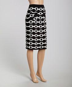 Look what I found on #zulily! Black & White Geo Knit Pencil Skirt by Cyrus #zulilyfinds